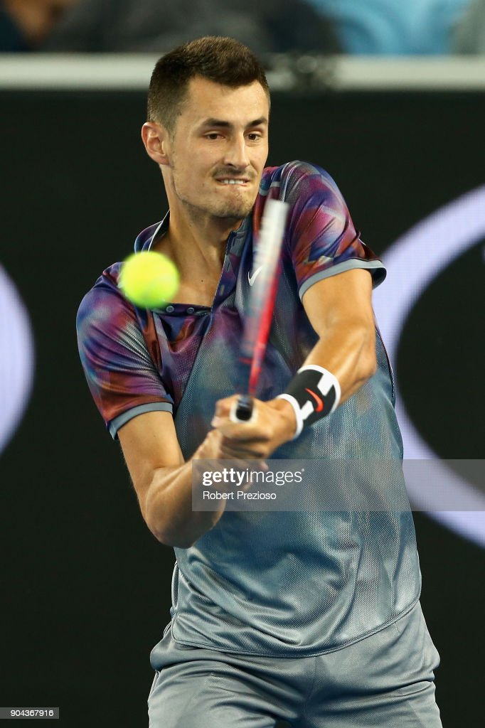 Bernard Tomic of Australia competes in his second round match against Tommy Paul of United States during 2018 Australian Open Qualifying at Melbourne Park on January 13, 2018 in Melbourne, Australia.