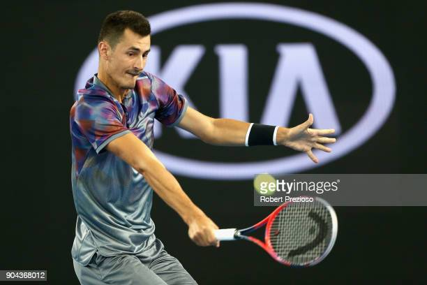 Bernard Tomic of Australia competes in his second round match against Tommy Paul of United States during 2018 Australian Open Qualifying at Melbourne...