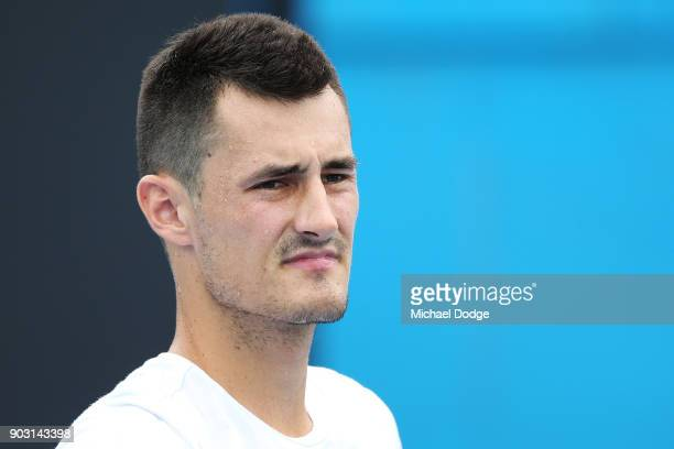 Bernard Tomic of Australia looks on during a practice session ahead of the 2018 Australian Open at Melbourne Park on January 10 2018 in Melbourne...