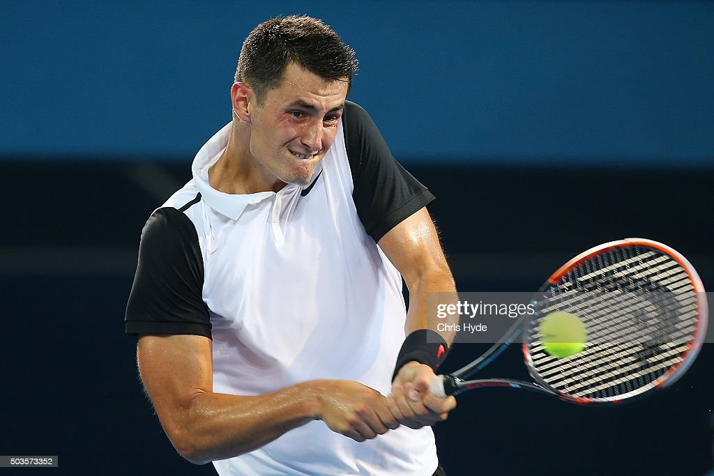 Bernard Tomic of Australia plays a backhand in his match against Radek Stepanek of the Czech Republic during day four of the 2016 Brisbane International at Pat Rafter Arena on January 6, 2016 in Brisbane, Australia.