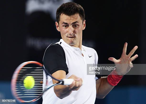 Bernard Tomic of Australia plays a forehand in his match against Jordan Thompson of Australia during day four of the Sydney International at Sydney...