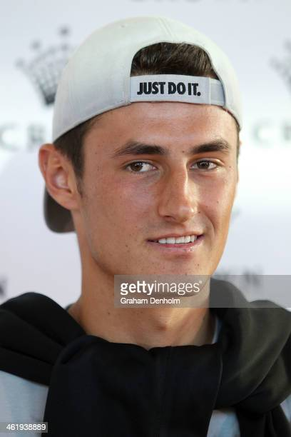 Bernard Tomic of Australia poses as he arrives at the IMG tennis players party at Crown Towers on January 12 2014 in Melbourne Australia
