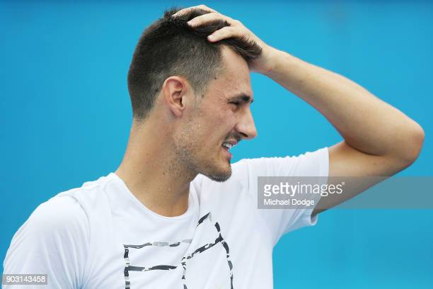 Bernard Tomic of Australia reacts during a practice session ahead of the 2018 Australian Open at Melbourne Park on January 10 2018 in Melbourne...