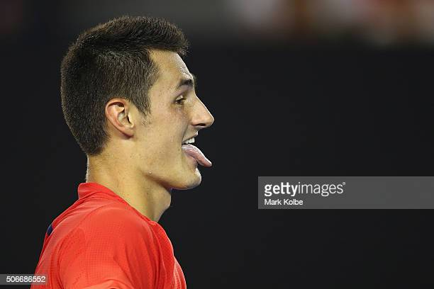 Bernard Tomic of Australia reacts in his fourth round match against Andy Murray of Great Britain during day eight of the 2016 Australian Open at...