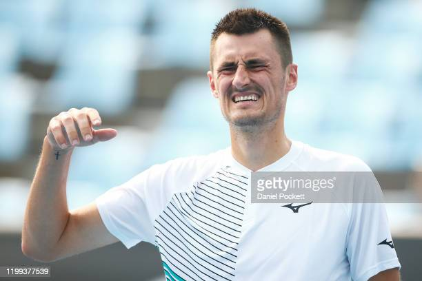 Bernard Tomic of Australia reacts in his match against Denis Kudla of the USA during 2020 Australian Open Qualifying at Melbourne Park on January 14...