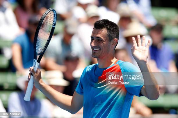 Bernard Tomic of Australia reacts in his match against Nick Kyrgios of Australia during day two of the 2019 Kooyong Classic at the Kooyong Lawn...
