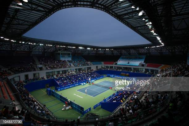 Bernard Tomic of Australia serves during his final match against Fabio Fognini of Italy during 2018 ATP World Tour Chengdu Open at Sichuan...