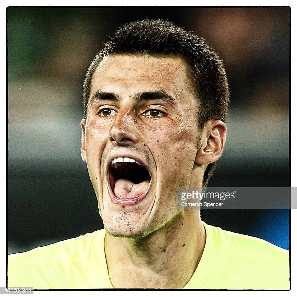 Bernard Tomic of Australia shows his emotion in his second round match against Philipp Kohlschreiber of Germany during day three of the 2015...