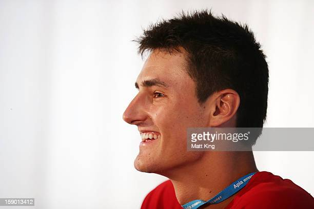 Bernard Tomic of Australia speaks to the media at a press conference during day one of the Sydney International at Sydney Olympic Park Tennis Centre...