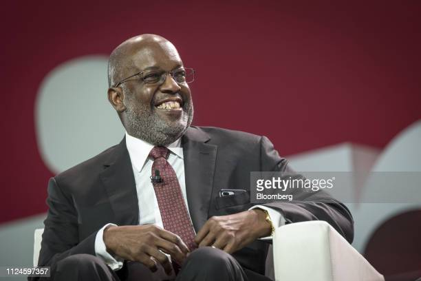Bernard Tyson chairman and chief executive officer of Kaiser Foundation Hospitals Inc smiles during the International Business Machines Corp Think...