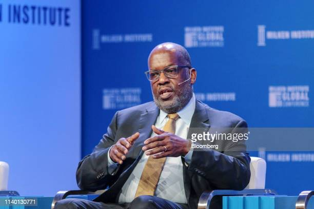 Bernard Tyson chairman and chief executive officer of Kaiser Foundation Hospitals Inc speaks during the Milken Institute Global Conference in Beverly...