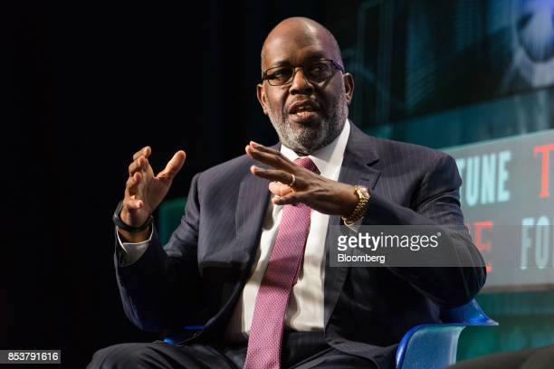 Bernard Tyson chairman and chief executive officer speaks during the CEO Initiative event in New York US on Monday Sept 25 2017 The CEO Initiative...