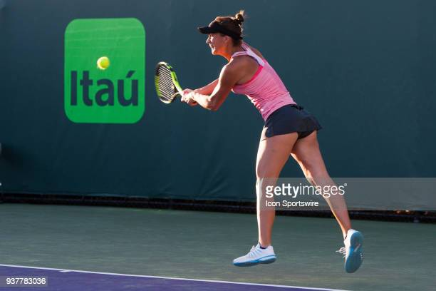 Bernarda Pera in action on Day 5 of the Miami Open at Crandon Park Tennis Center on March 23 in Key Biscayne FL