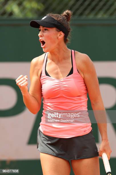 Bernarda Pera of The United States celebrates during the ladies singles second round match against Daria Gavrilova of Australia during day five of...