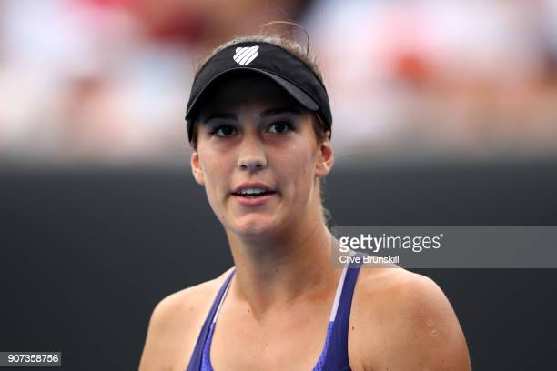 Bernarda Pera of the United States looks on in her third round match against Barbora Strycova of Czech Republic on day six of the 2018 Australian...