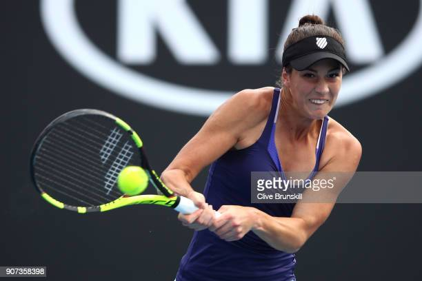 Bernarda Pera of the United States plays a backhand in her third round match against Barbora Strycova of Czech Republic on day six of the 2018...