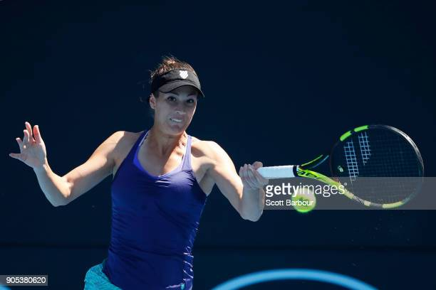 Bernarda Pera of the United States plays a forehand in her first round match against Anna Blinkova of Russia on day two of the 2018 Australian Open...