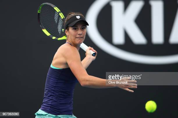 Bernarda Pera of the United States plays a forehand in her third round match against Barbora Strycova of the Czech Republic on day six of the 2018...