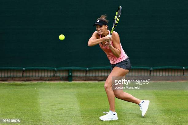 Bernarda Pera of USA in action during Day Two of the Nature Valley Classic at Edgbaston Priory Club on June 17 2018 in Birmingham United Kingdom