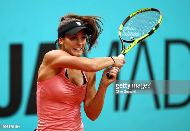 Bernarda Pera of USA plays a backhand in her match against Johanna Konta of Great Britain during day four of the Mutua Madrid Open tennis tournament...