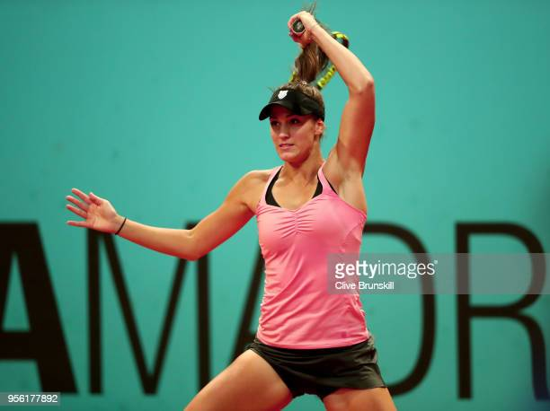 Bernarda Pera of USA plays a forehand in her match against Johanna Konta of Great Britain during day four of the Mutua Madrid Open tennis tournament...