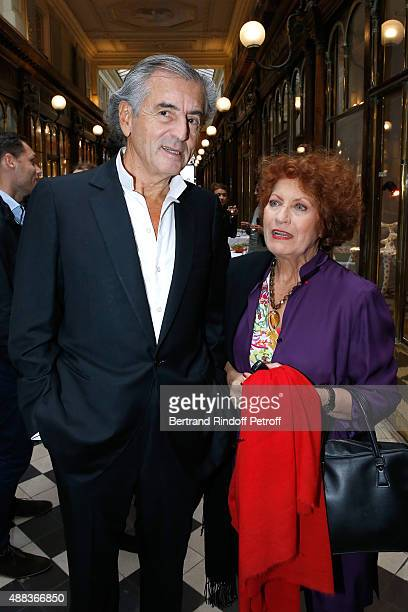 BernardHenri Levy and Actress Andrea Ferreol attend the 'Paintings Poems from Tahar Ben Jelloun Furniture Scriptures from CSaccomanno ODayot' Press...