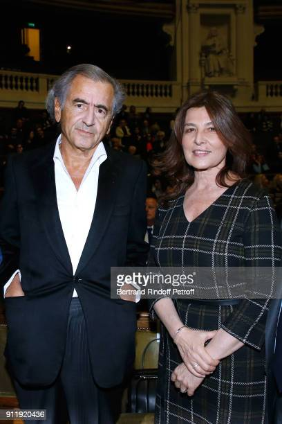 BernardHenri Levy and and Ambassador of Israel to France Aliza BinNoun attend the Tribute to ELie Wiesel by Maurice Levy X Publicis Group at 'La...