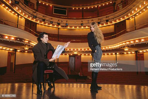 BernardHenri Levy and Arielle Dombasle on the stage of l'Atelier Theatre