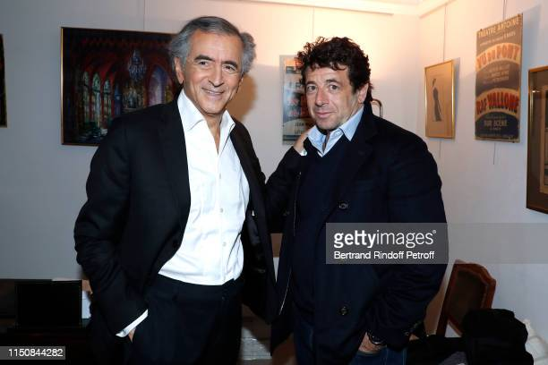 BernardHenri Levy and Patrick Bruel pose after BernardHenri Levy performed in Looking for Europe at Theatre Antoine on May 21 2019 in Paris France