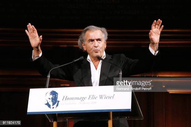 BernardHenri Levy attends the Tribute to ELie Wiesel by Maurice Levy X Publicis Group at 'La Sorbonne' on January 29 2018 in Paris France