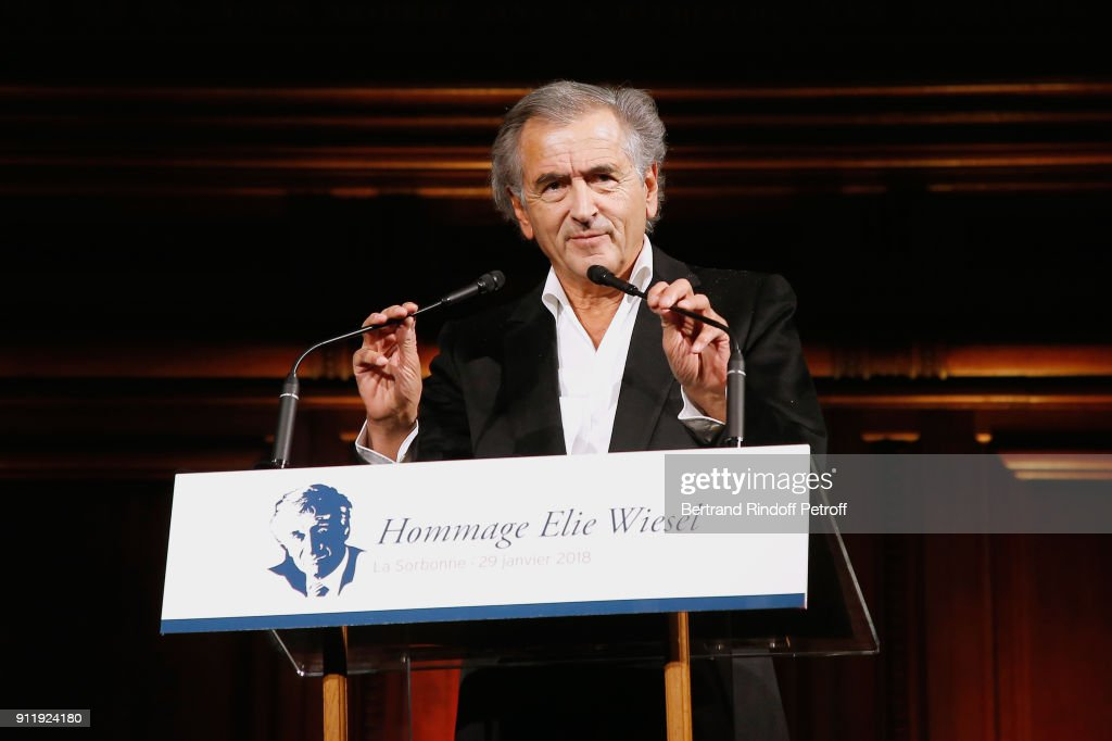 Bernard-Henri Levy attends the Tribute to ELie Wiesel by Maurice Levy X Publicis Group at 'La Sorbonne' on January 29, 2018 in Paris, France.