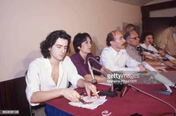 Bernard-Henri Levy, Joan Baez, Claude Malhuret, Elie Wiesel lors de la 'Marche pour la Survie' à Aranyaprathet le 6 février 1980, Thaïlande.