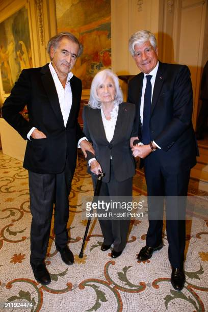 BernardHenri Levy Widow of Elie Wiesel Marion Wiesel and Maurice Levy attend the Tribute to ELie Wiesel by Maurice Levy X Publicis Group at 'La...