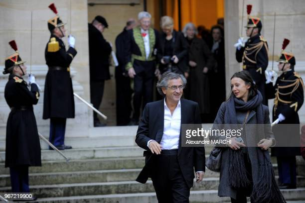 BernardHenri Levy with a friend attends a ceremony to present French Philosopher JeanLuc Marion with his seat in the French Academy