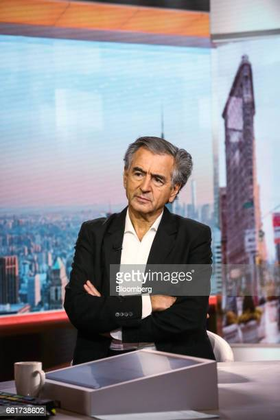 BernardHenri Levy writer and philosopher listens during a Bloomberg Television interview in New York US on Friday March 31 2017 Levy is a French...