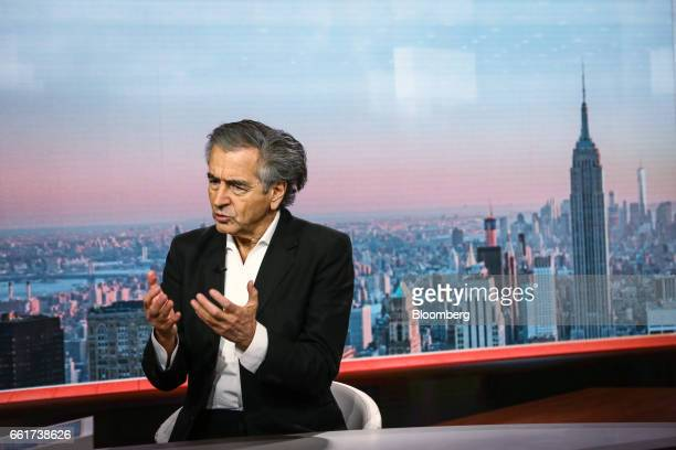 BernardHenri Levy writer and philosopher speaks during a Bloomberg Television interview in New York US on Friday March 31 2017 Levy is a French...
