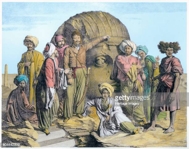 Bernardino Drovetti measuring a colossal head in the Egyptian desert 1819 Drovetti and his followers using a plumb line to measure the head He was an...