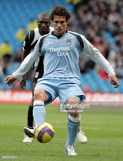 Bernardo Corradi of Manchester City and Papa Bouba Diop of Fulham in action during the FA Premier League match between Manchester City and Fulham at...