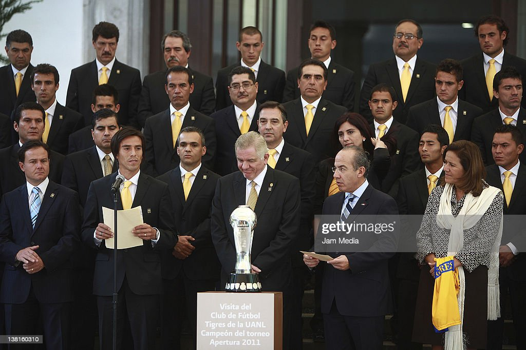 Bernardo de la Garza, Director of CONADE, Lucas Lobos, Jesus Ancer, rector of the UANL, President of Mexico, Felipe Calderon and Margarita Zavala during a visit of the Tigre´s players, champion of the Apertura Tournament 2011, at the presidential residence of Los Pinos on February 03, 2011 in Mexico City, Mexico.