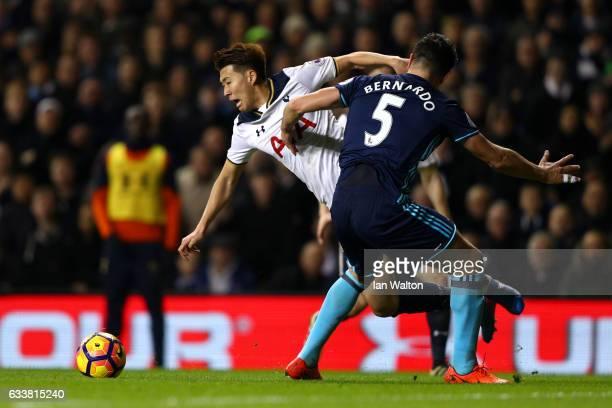 Bernardo Espinosa of Middlesbrough fouls Son Heung-Min of Tottenham Hotspur and concedes a penalty during the Premier League match between Tottenham...