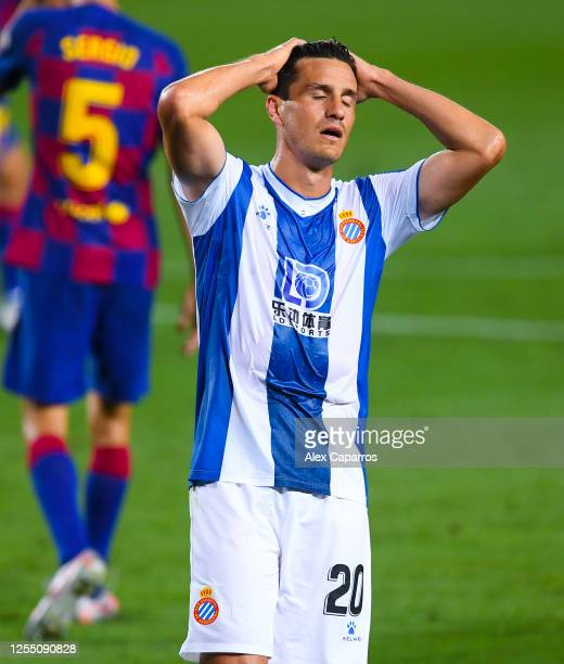 Bernardo Espinosa of RCD Espanyol shows his dejection during the Liga match between FC Barcelona and RCD Espanyol at Camp Nou on July 08 2020 in...