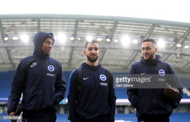 Bernardo Fernandes da Silva Martin Montoya and Florin Andone of Brighton and Hove Albion during the Premier League match between Brighton Hove Albion...