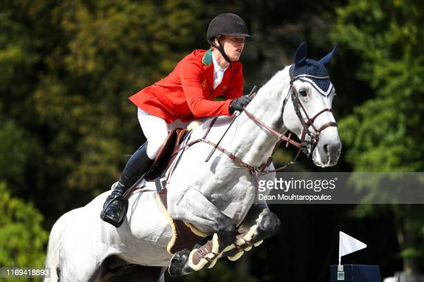 Bernardo Ladeira of Portugal riding Dento competes during Day 3 of the Longines FEI Jumping European Championship speed competition against the clock...