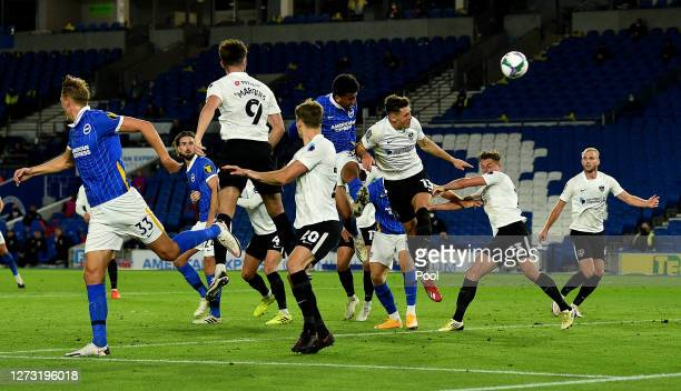 Bernardo of Brighton and Hove Albion scores his sides third goal during the Carabao Cup second round match between Brighton And Hove Albion and...