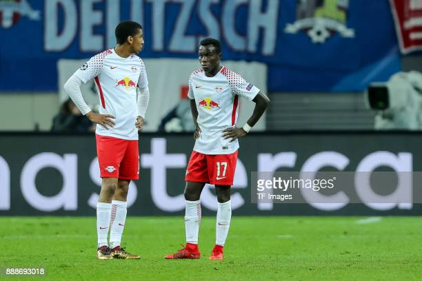Bernardo of Leipzig and Bruma of Leipzig looks dejected after the UEFA Champions League group G soccer match between RB Leipzig and Besiktas at the...