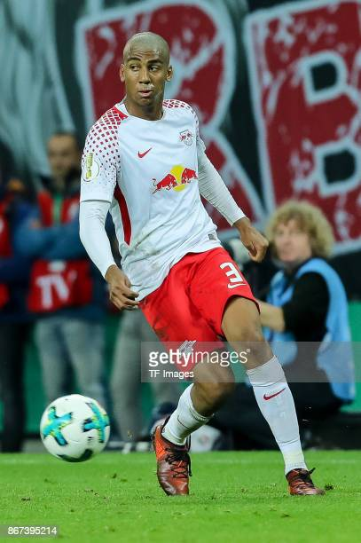 Bernardo of Leipzig controls the ball during the DFB Cup round 2 match between RB Leipzig and Bayern Muenchen at Red Bull Arena on October 25 2017 in...