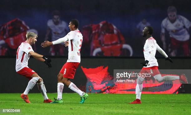 Bernardo of RB Leipzig celebrates after scoring the second goal during the Bundesliga match between RB Leipzig and SV Werder Bremen at Red Bull Arena...