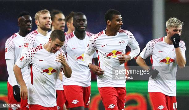 Bernardo of RB Leipzig is congratluated after scoring the second goal during the Bundesliga match between RB Leipzig and SV Werder Bremen at Red Bull...