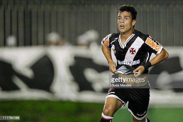Bernardo of Vasco celebrates a scored goal during a match as part of Brazil Cup 2011 at Sao Januario stadium on April 06, 2011 in Rio de Janeiro,...