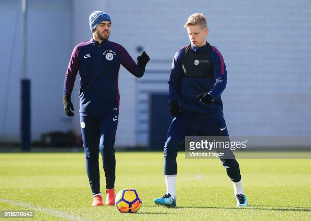 Bernardo Silva and Oleksandr Zinchenko during training at Manchester City Football Academy on February 9 2018 in Manchester England